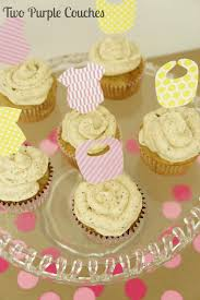 chai latte cupcakes and a virtual baby shower two purple couches