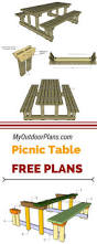 Plans For Wooden Picnic Tables by Best 25 Picnic Table Plans Ideas On Pinterest Outdoor Table