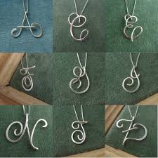calligraphy initial necklace a single of sterling silver