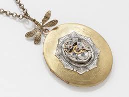 steampunk necklace vintage images Vintage gold locket steampunk necklace with dragonfly and watch jpg