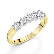 gold eternity rings 0 60ct 18ct yellow gold brilliant cut 5 diamond ring