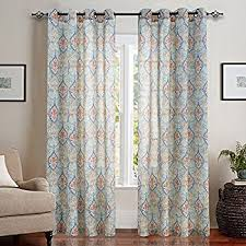 95 Inch Curtain Panels Moroccan Tile Printed Linen Curtains 95 Inch For