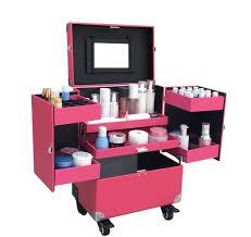 Box Makeup aluminum pu leater with pvc panel rolling makeup storage