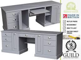 grey cream or white painted single pedestal laptop pine desk