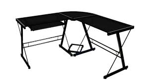 Glass Corner Desks Walker Edison Soreno 3 Corner Desk Black With Black Glass
