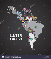 Map Of Latin America by Map Of Latin America With The Flags Of Countries On Location Pins