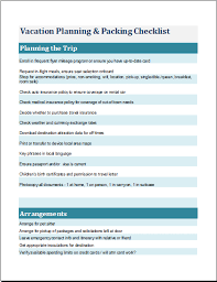 vacation planning u0026 packing list template for ms excel word