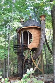 Cute House by Unique Treehouse Makes Great Backyard Addition Beautiful Tree