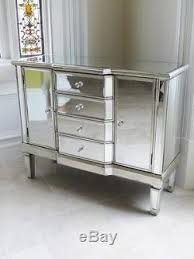 sideboard 2 doors 4 drawers silver storage cabinet side cupboard unit