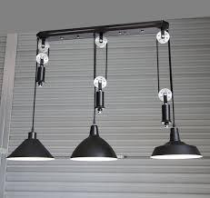 Retro Pendant Lighting Adjustable Diy Silver Pulley Pendant Lamp Dining Room Bar Retro