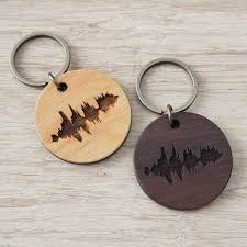 wooden key chain personalised your voice wooden key ring by newton and the apple