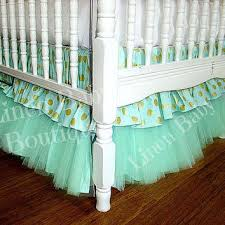 Baby Crib Bed Skirt Mint Green Tulle Bumperless Baby Bedding Tiered Crib Skirt Rail