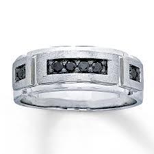 kay jewelers engagement rings kay men u0027s 6mm wedding ring 1 4 cttw black diamonds 10k white gold