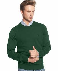 tommy hilfiger signature solid crew neck sweater in green for men