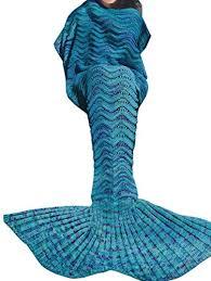 plaid turquoise pour canapé yizyif adults femme couverture queue de sirène tricoté douce et