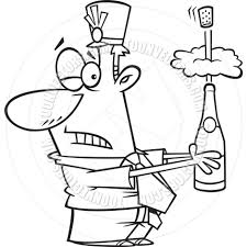 black and white champagne bottle clipart cartoon man opening bottle of champagne black u0026 white line art