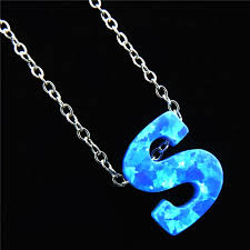 blue stainless steel necklace images 21661 alfabet initial s pendants necklaces blue fire opal letter jpg
