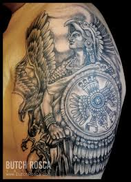 angry aztec warrior and roman shield tattoo for men u0027s sleeve