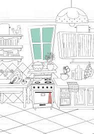 dessiner cuisine noir et blanc de cuisine de style dessin animé fond cliparts