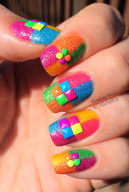 ehmkay nails born pretty review neon studs over neon color block