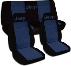 jeep navy blue jeep wrangler yj tj jk 1987 2017 two tone seat covers w logo full