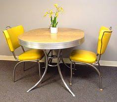 Yellow Retro Kitchen Chairs - formica table and chairs aqua oval centre chrome pedestal