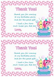 my little pony thank you cards u2013 birthday printable