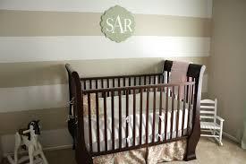 interior elegant baby nursery with stripe wall grey paint wall