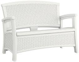 wicker patio storage amazon com suncast elements loveseat with storage white patio