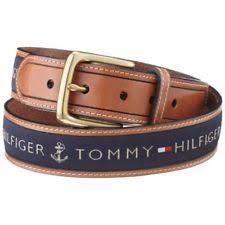 ribbon belt hilfiger men s ribbon inlay anchor logo leather belt