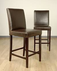 Brown Leather Bar Stool Dining Room 24 Inch Counter Stools In Brown With Leather Seat And