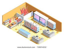 flat 3d isometric living room interior stock vector 323900657