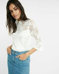 white bell sleeve blouse lace mock neck bell sleeve blouse express