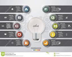 Idea Website Design 10 Steps With Idea Light Blub Template Graphic Or Website