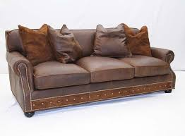 Desert Leather Sofa With Pillows Old Hickory Tannery Furniture - Hickory leather sofa