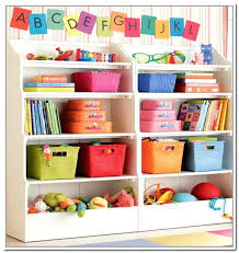 bookcase image of storage shelves with bins for kids storage