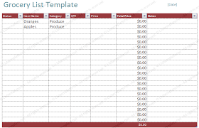 Shopping List Template Excel Free Blank Grocery List Template List Templates