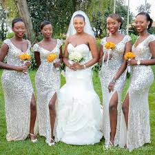 cheap long bridesmaid dresses silver sequins wedding party dress