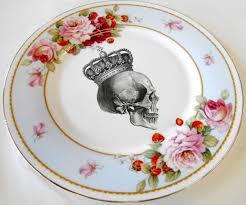 floral skull salad tea snack plates 7 5