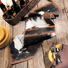 54 inch table runner cowhide croc leather table runner 54 inch