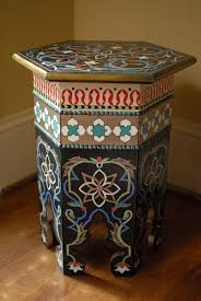 moroccan handpainted nightstand wood end table arabesque design