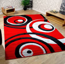 rectangle red black and cream rug for living room decofurnish