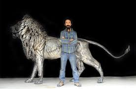metal lion sculpture a lion made from 4 000 pieces of hammered metal by selçuk yılmaz