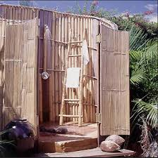 Simple Outdoor Showers - outdoor shower ideas small cabin with iron sheets and woods for