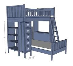 Free Bunk Bed Plans With Storage by 73 Best Loft Beds Images On Pinterest 3 4 Beds Diy And Home