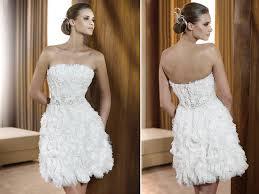 strapless little white wedding dress textured ruffled feathered skirt