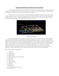 design and optimization of a balsa wood truss bridge pdf