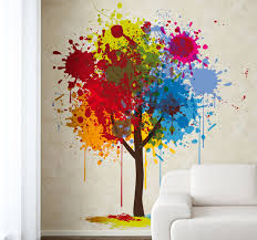 paint splash tree wall sticker paint art colour tree wallart