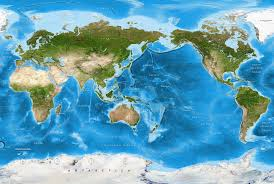 detailed world satellite map pacific rim view world satellite map wall mural w labels and borders