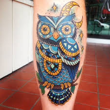 guys calf tattoos owl mosaic tattoo done by jessie beans at five fathoms in vernon